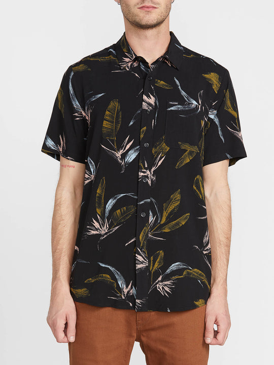 Faxer Floral Short Sleeve - Black (A0441900_BLK) [F]