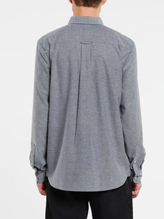 Oxford Stretch Long Sleeve Shirt In Black, Back View