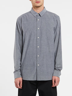 Oxford Stretch Long Sleeve Shirt In Black, Front View