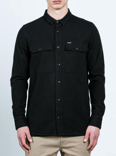 Ketil Long Sleeve Shirt In Black, Front View