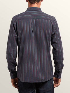 Toner Stripe Long Sleeve Shirt In Midnight Blue, Back View
