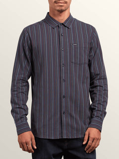 Toner Stripe Long Sleeve Shirt In Midnight Blue, Front View