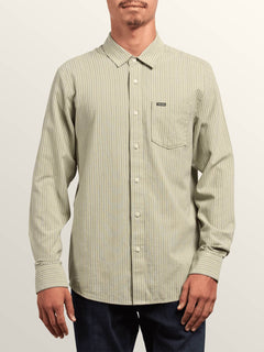 Toner Stripe Long Sleeve Shirt In Sage, Front View