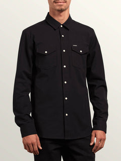 Hayes Long Sleeve Shirt In Black, Front View