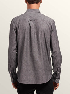 Hayes Long Sleeve Shirt In Grey, Back View