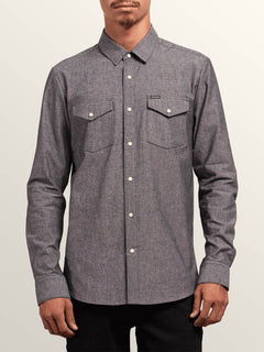 Hayes Long Sleeve Shirt In Grey, Front View