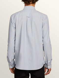 Hayes Long Sleeve Shirt In Slate Blue, Back View