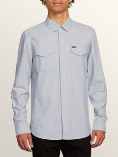 Hayes Long Sleeve Shirt In Slate Blue, Front View