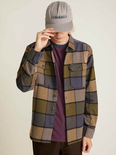 Randower Long Sleeve Flannel In Snow Military, Second Alternate View