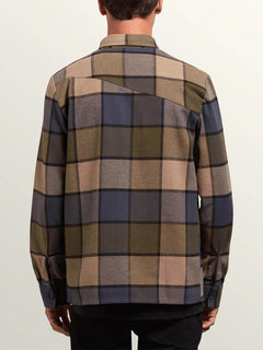 Randower Long Sleeve Flannel In Snow Military, Back View