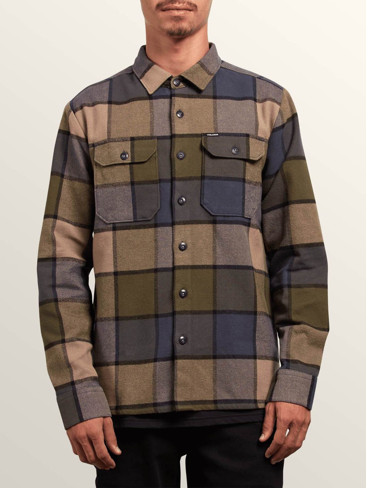 Randower Long Sleeve Flannel In Snow Military, Front View