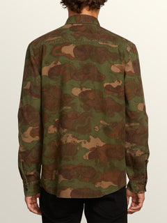 Huckster Long Sleeve Shirt In Army, Back View