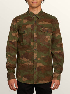 Huckster Long Sleeve Shirt In Army, Front View