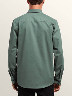 Huckster Long Sleeve Shirt In Pine, Back View
