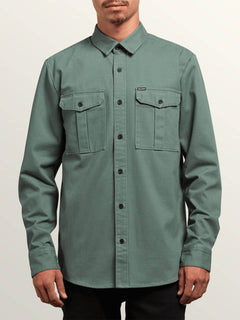 Huckster Long Sleeve Shirt In Pine, Front View
