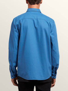 Huckster Long Sleeve Shirt In Used Blue, Back View
