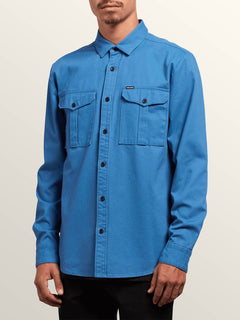 Huckster Long Sleeve Shirt In Used Blue, Front View
