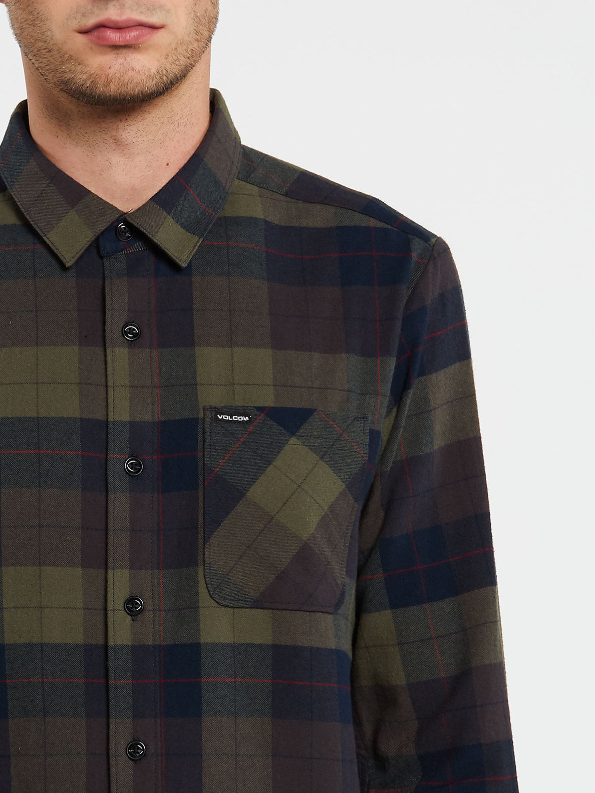 Caden Plaid Long Sleeve  Flannel - Army Green Combo (A0532005_ARC) [1]