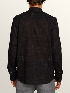 Quency Dot Long Sleeve Shirt In Black, Back View
