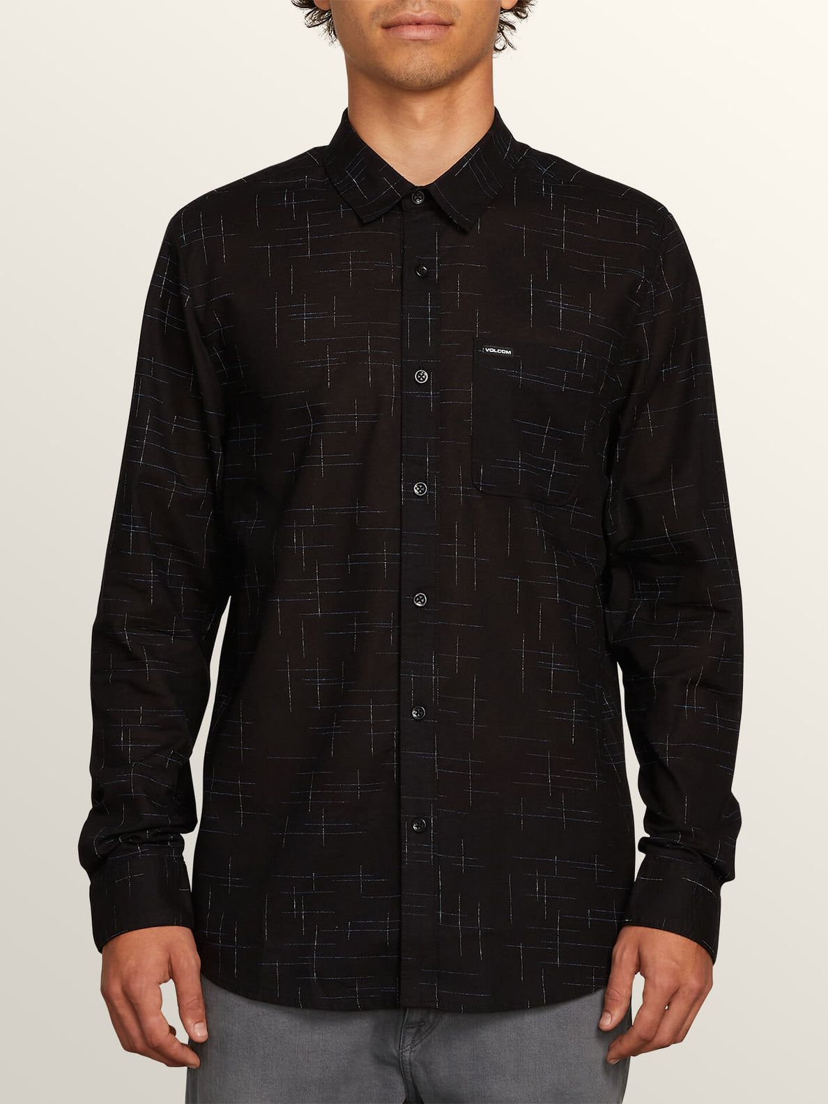 Quency Dot Long Sleeve Shirt In Black, Front View