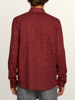 Quency Dot Long Sleeve Shirt In Floyd Red, Back View