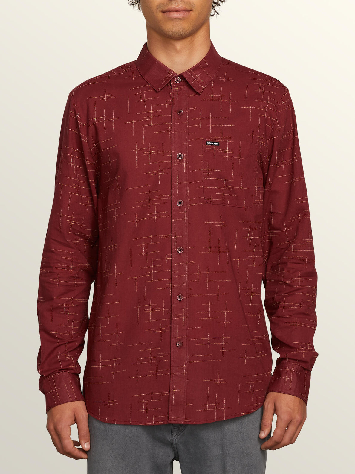 Quency Dot Long Sleeve Shirt In Floyd Red, Front View
