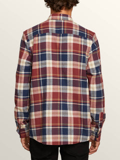Caden Plaid Long Sleeve Flannel In Melindigo, Back View