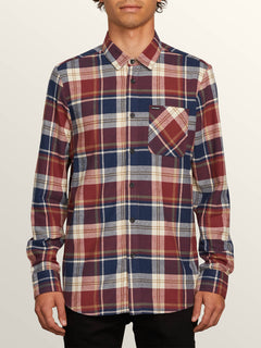 Caden Plaid Long Sleeve Flannel In Melindigo, Front View