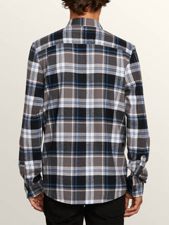 Caden Plaid Long Sleeve Flannel In Pewter, Back View