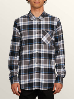 Caden Plaid Long Sleeve Flannel In Pewter, Front View