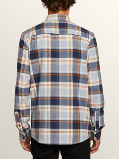 Caden Plaid Long Sleeve Flannel In Slate Blue, Back View