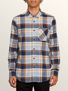 Caden Plaid Long Sleeve Flannel In Slate Blue, Front View