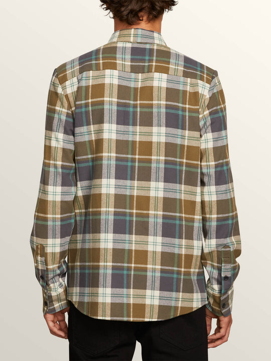 Caden Plaid Long Sleeve Flannel In Vineyard Green, Back View