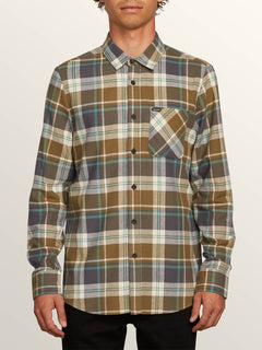 Caden Plaid Long Sleeve Flannel In Vineyard Green, Front View