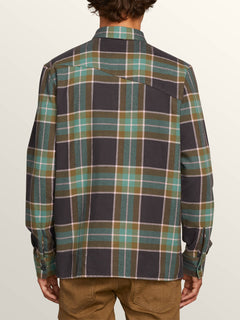 Randower Long Sleeve Flannel In Deep Sea, Back View