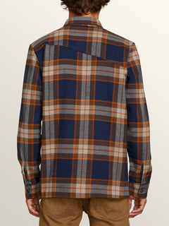 Randower Long Sleeve Flannel In Melindigo, Back View
