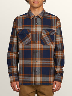 Randower Long Sleeve Flannel In Melindigo, Front View