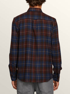 Lumberg Long Sleeve Flannel In Melindigo, Back View