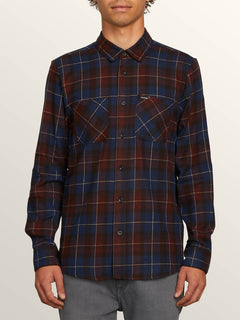 Lumberg Long Sleeve Flannel In Melindigo, Front View