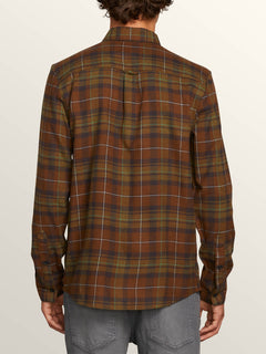 Lumberg Long Sleeve Flannel In Vineyard Green, Back View
