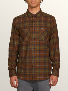 Lumberg Long Sleeve Flannel In Vineyard Green, Front View