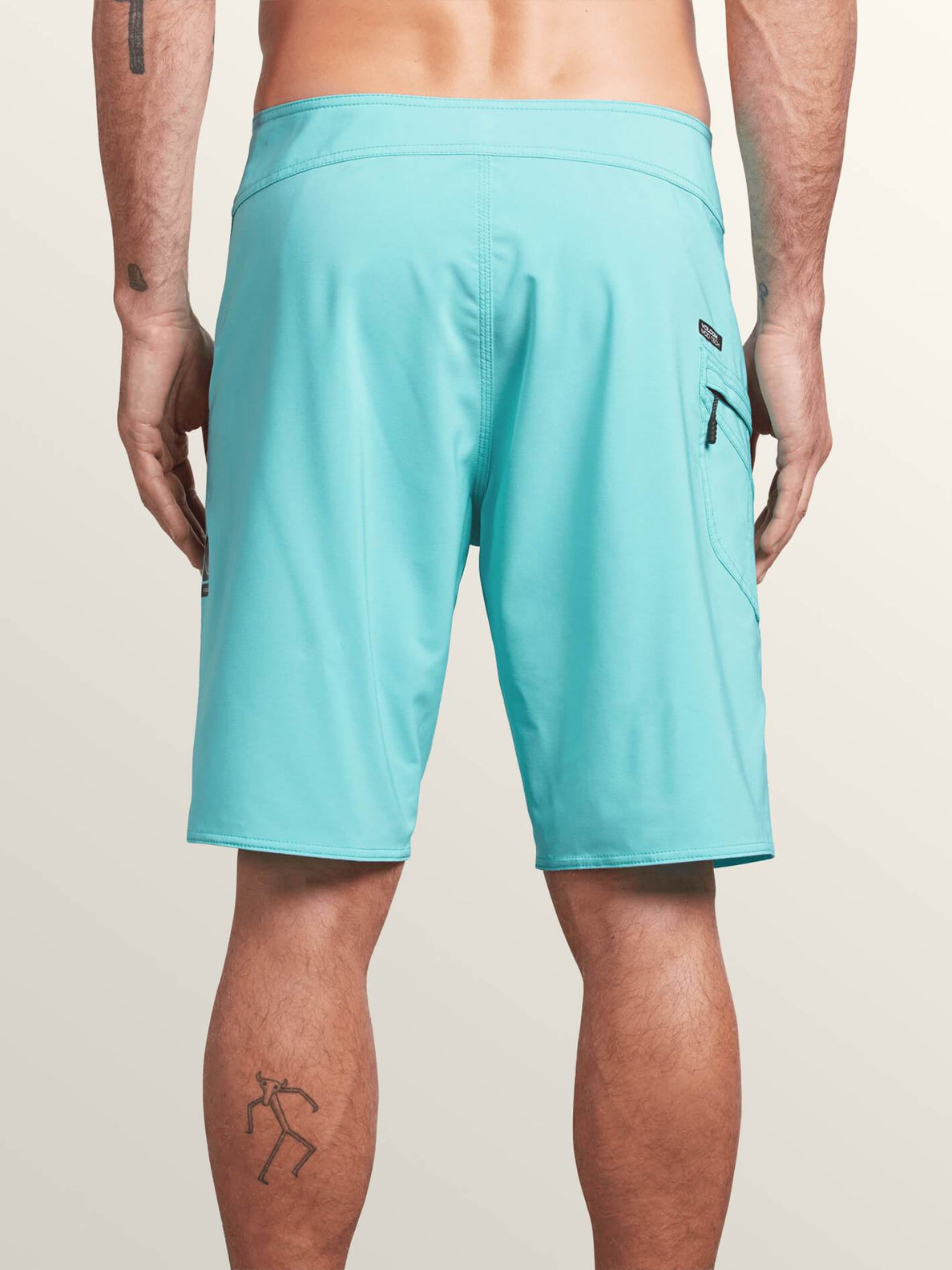 Lido Solid Mod Boardshorts In Bright Turquoise, Back View