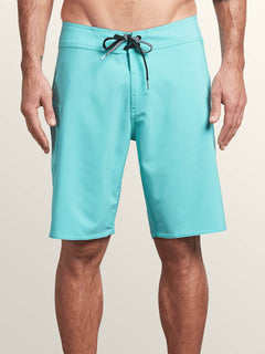 Lido Solid Mod Boardshorts In Bright Turquoise, Front View