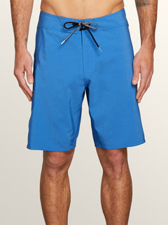 Lido Solid Mod Boardshorts In Free Blue, Front View