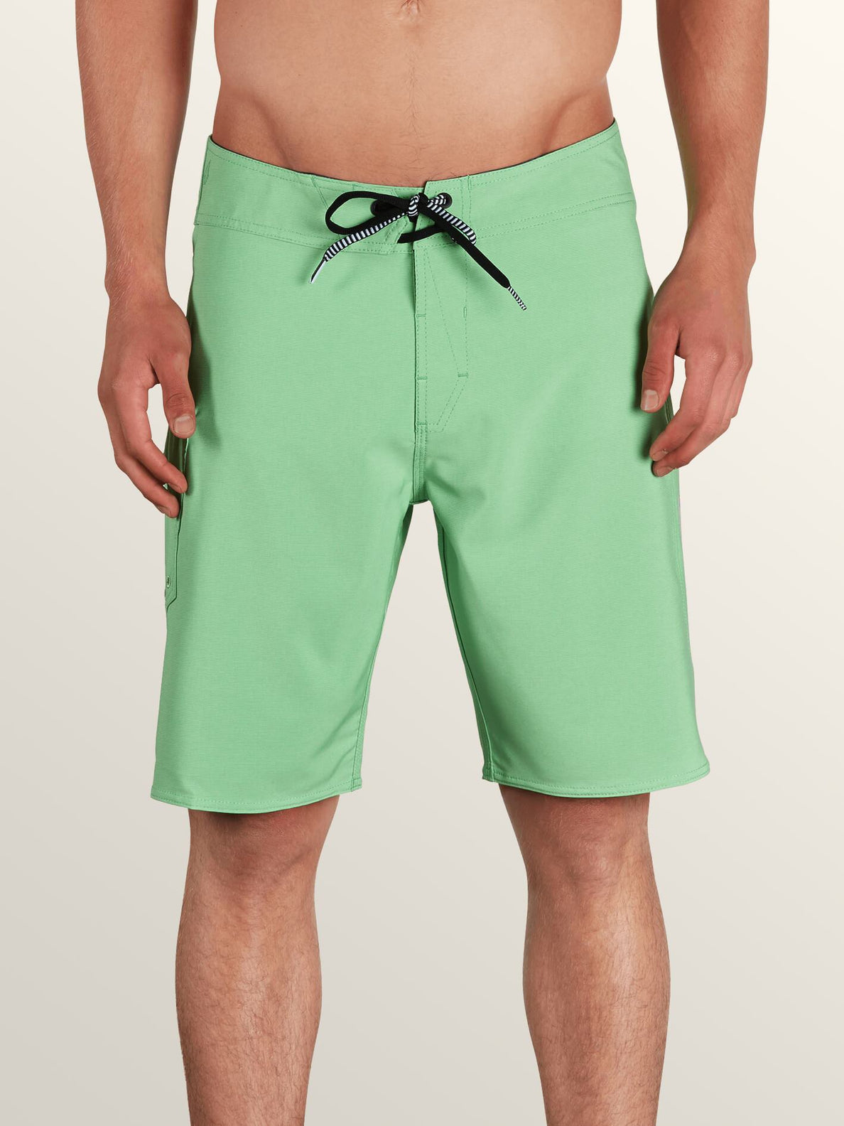 Lido Solid Mod Boardshorts In Poison Green, Front View