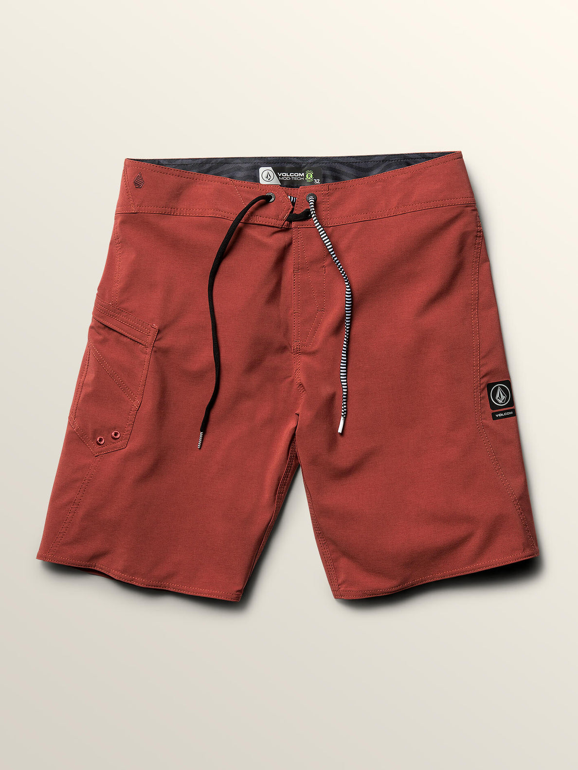 Lido Solid Mod Boardshorts In Rust, Third Alternate View