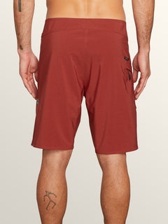 Lido Solid Mod Boardshorts In Rust, Back View