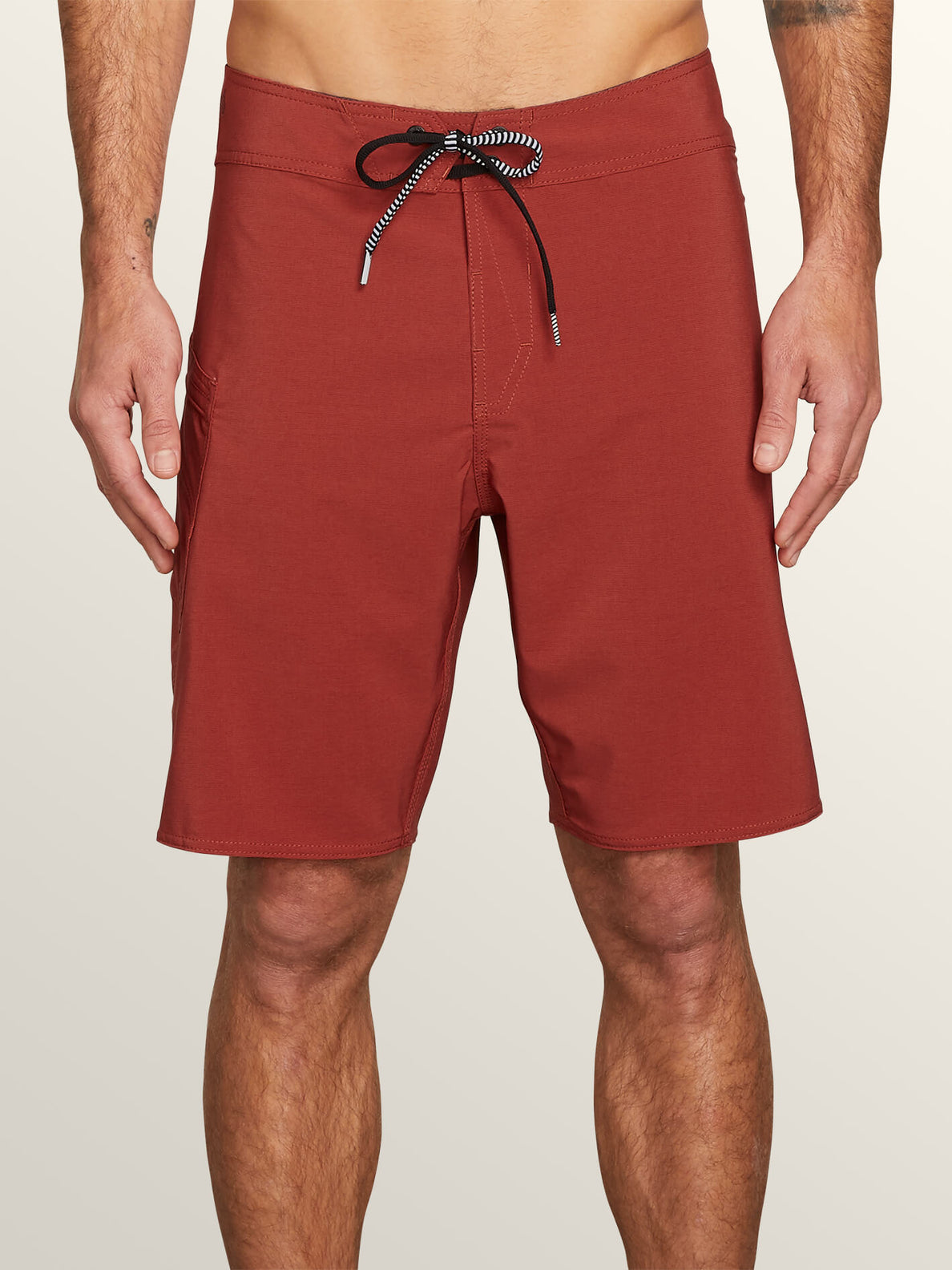 Lido Solid Mod Boardshorts In Rust, Front View