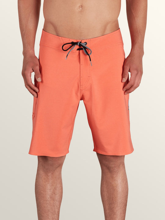Lido Solid Mod Boardshorts In Twisted Orange, Front View