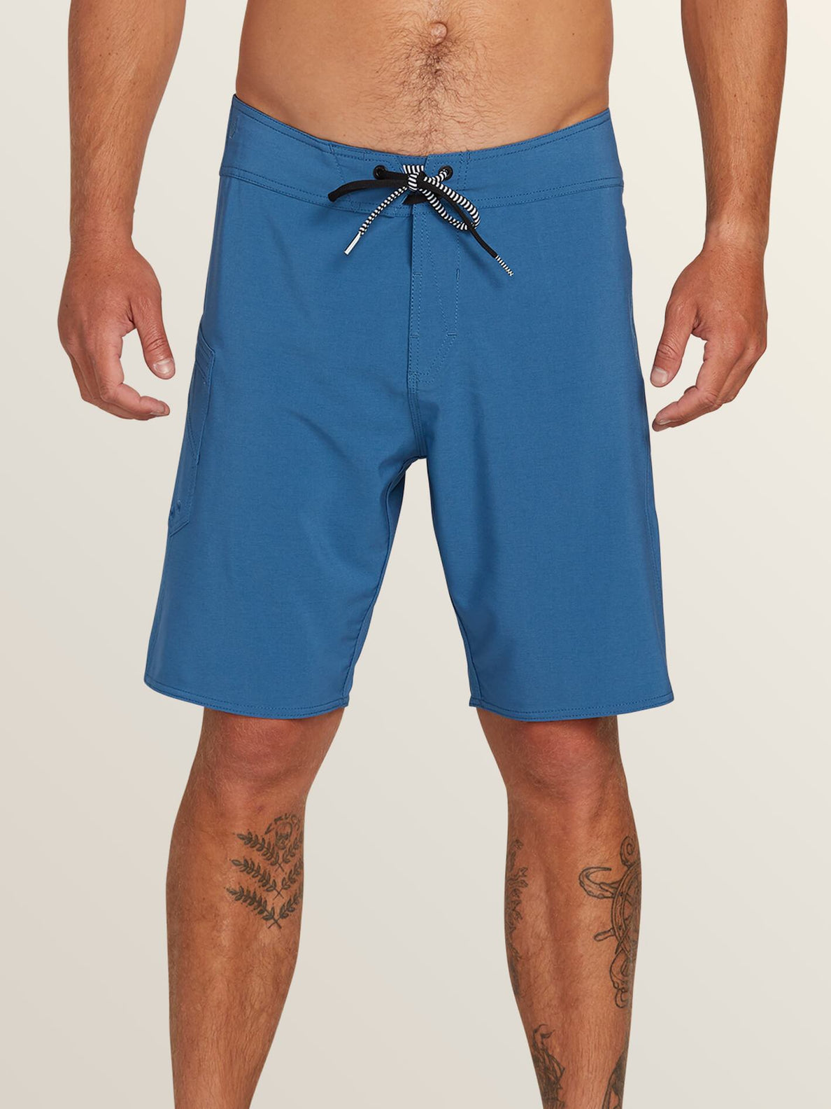 Lido Solid Mod Boardshorts In Snow Vintage Navy, Front View